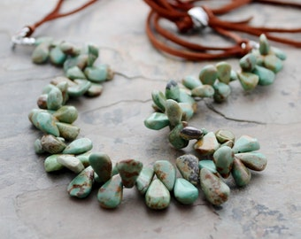 Green Turquoise Necklace: Rustic Ma'an Shan Beads with Brown Deerskin Leather, Long Necklace, Natural Jewelry, Boho Chic