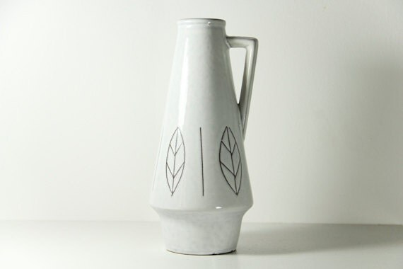 West German Vase Ceramic Pottery Clemens Huhn White Leaves