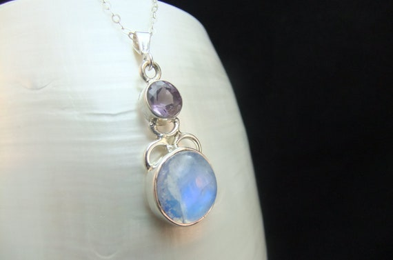 Rainbow Moonstone and Amethyst Sterling Silver Necklace