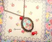 Gift under USD 15 - Hungarian Folk art - necklace - vintage looking, antique bronze tone