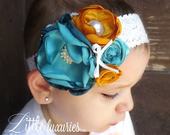 My Favorite Things- Layers of Satin in Teal, Aqua, Mustard, and Lace, Lace Headband, Satin Flowers
