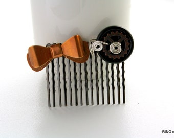 Black Hair Comb, Bronze Bow Hair Comb, Black Button Hair Comb, Copper Gear Hair Comb, Silver Plated Wire Hair Comb, Steampunk Hair Comb