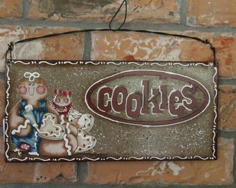 Gingerbread Cookies Kitchen Sign.....Metal...Ginger Collector....Kitchen Decor