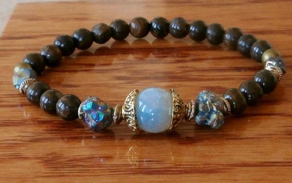 Protection Peacock ore, Bronzite, Agate Meditation bracelet, Yoga, Mala, Reiki Charged, free shipping