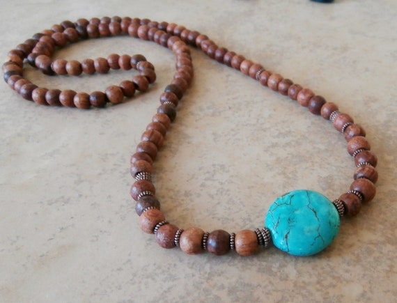 Inner Calm Basic Mala wrap or necklace with Turquoise Guru bead & Rosewood Yoga Bracelet, Reiki. free shipping