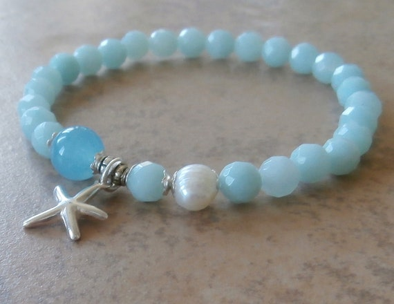 Sui Element, Grade A Amazonite & Aquamarine with Sterling Silver starfish and Freshwater Pearl, Yoga Bracelet,  Reiki Charged, free shipping