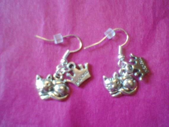 cute, princess and kitty charms earrings