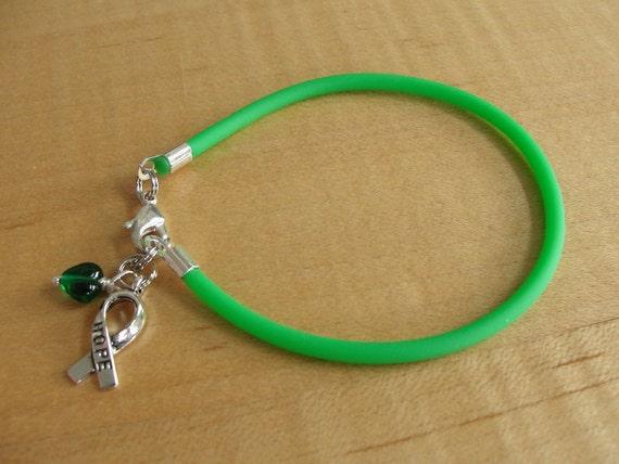 Green Awareness Bracelet Rubber Cerebral Palsy By Twenty2roses