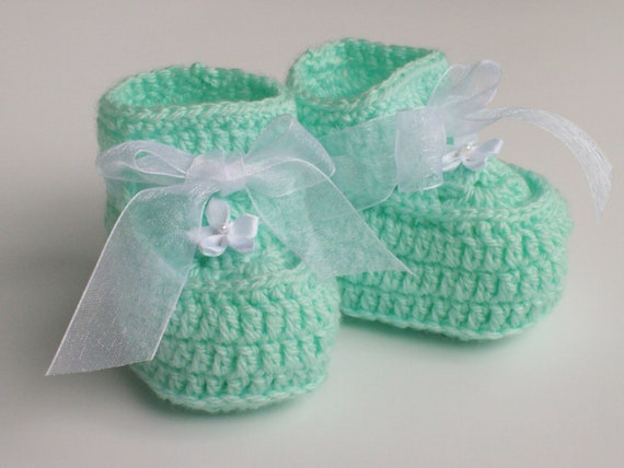 Crochet Large Doll Booties in Mint Green and White Flowers