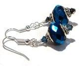 Metallic Blue Earrings with Euro Beads