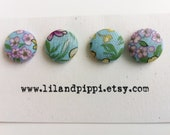 Vintage fabric buttons - aqua, purple and yellow