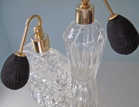 Set of 2 Vintage Perfume Atomizers - Clear, Cut Glass. EXCELLENT & BEAUTIFUL