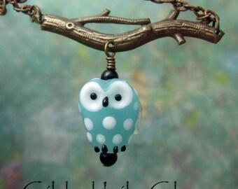 Aqua Hoot Pendant, Torchwork Glass Jewelry Handcrafted in North Carolina