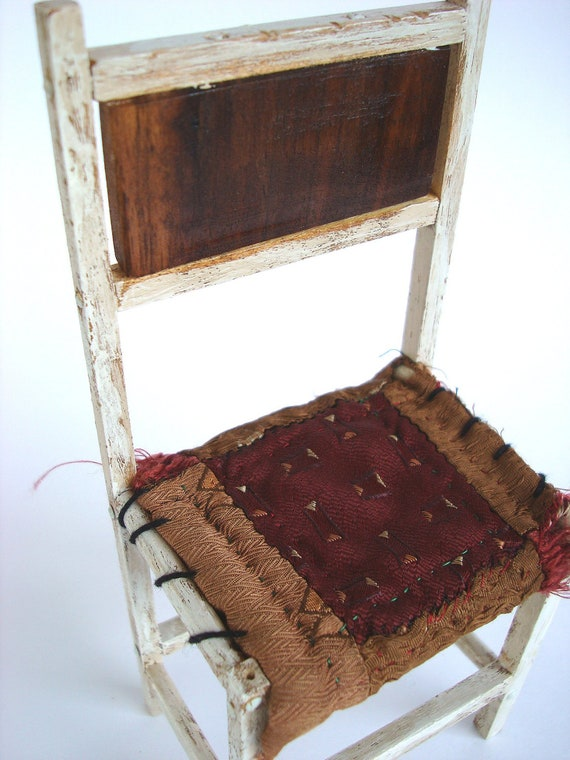 Chair Wooden Miniature Collectors Weathered Linen Brown Rag Seat Black Walnut Back Prim Home Decor 8 inch High Chair