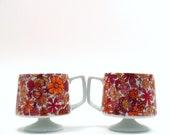 Holt Howard Mugs, Vintage 1965 Orchid & Tangerine Mod Floral Coffee Cups