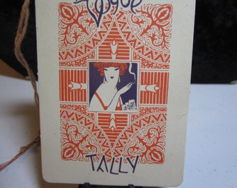 1920's Art Deco Buzza bridge tally card with red headed vampy flapper smoking a cigarette unused