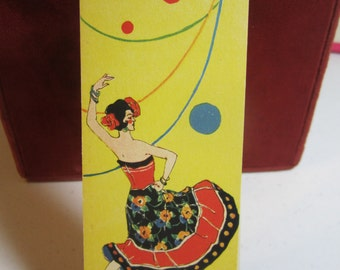 Art deco 1920's-30's unused bridge tally colorfully dressed spanish lady flamenco  dancer and balloons