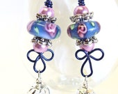 Blue Lampwork  Earrings with Lantern Crystal Charms