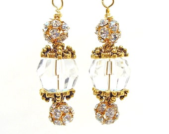 Faceted Crystal Earrings with Antique Gold Bead Caps
