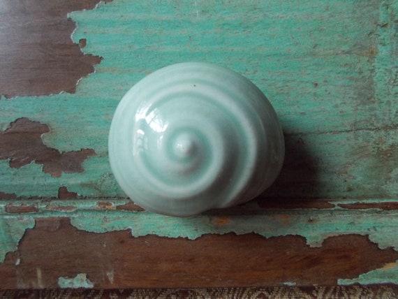 Mint green seashell ceramic trinket box