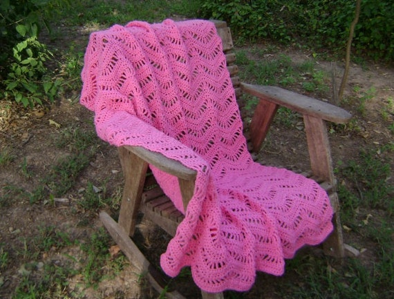 Crochet Afghan Throw Blanket Ripple Rosey Pink