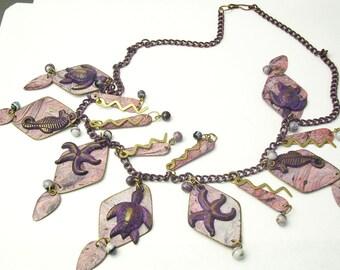 Sea Life Starfish Sea Horse Turtle Purple Charm Vintage Costume Jewelry NECKLACE Cyber Monday Sale