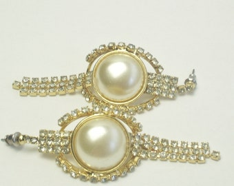 Statement Earrings Vintage Rhinestone Faux Pearl Cabochon Dangle Costume Jewelry