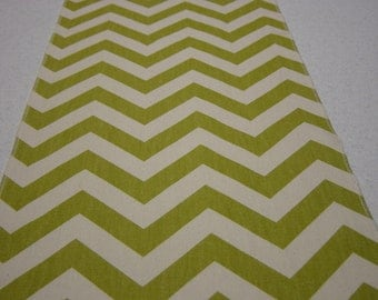 Chartruese and Natural Chevron or Zig Zag Table Runner