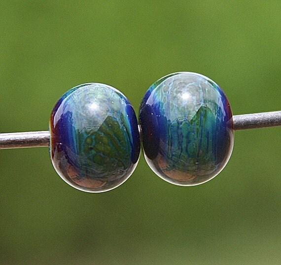 A Very Striking PAIR Handmade Lampworked Glass Beads OOAK