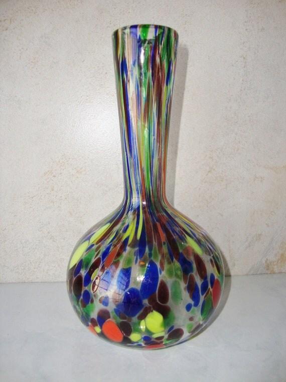 Vintage Spatter Glass Vase Multi Color Made By Wintervillewonders