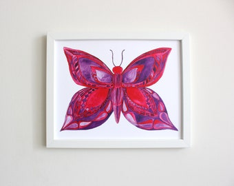Butterfly Art Print: 11x14 red and purple watercolor painting