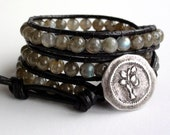 Leather Wrap Bracelet - Moonlit Skies - Labradorite Bracelet