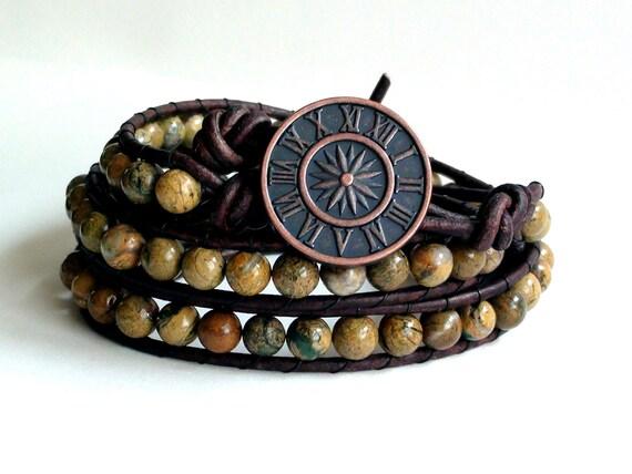 Triple Wrap Earthy Verdite Leather Wrap Bracelet