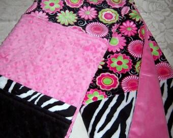 Black, Pink, Zebra & Floral Minky Baby/Toddler Blanket