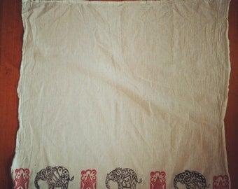 Block Printed Tea Towel- Elephants and Stars motif in Red  Black