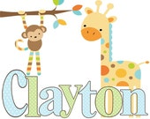 Boy Nursery Room Decor Personalized Monkey & Giraffe Wall Art Prints / Kool Kitz