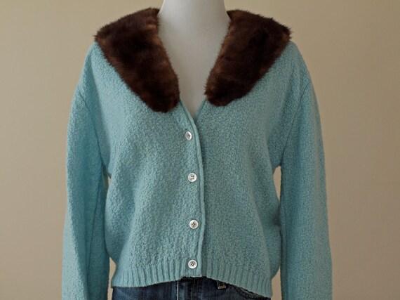 1950s Sweater / 50s Fur Cardigan // Baby Blues