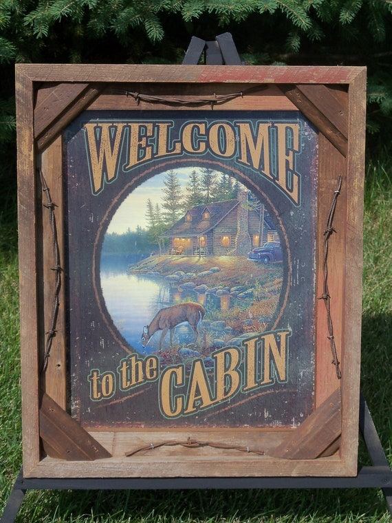 Barnwood Frame with decorative Welcome to the Cabin photo
