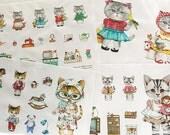 6909A - Retro Cotton Linen Fabric - Cotton Linen Fabric - Lovely Cats  - 140cmx40cm