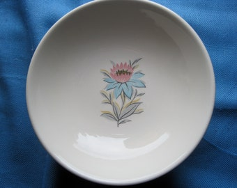 Vintage Steubenville Fairlane Blue and Pink Cornflower China Fruit/Dessert/Berry Bowls, Set of 7