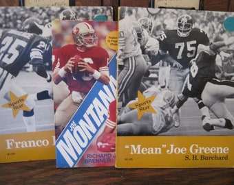 Vintage Football Stars Books featuring Franco Harris, Mean Joe Greene, Joe Montana & Jerry Rice