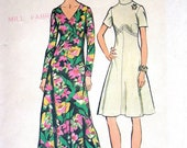 """Simplicity Dress Pattern No 5850 UNCUT Vintage 1970s Size 12 Bust 34"""" Short or Long Sleeves Back Zipper Shaped Bodice Two Necklines"""