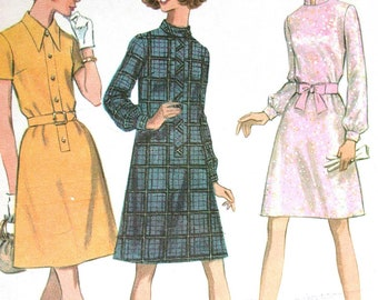 """McCalls Dress Pattern No 9502 Vintage 1960s Size 10 Bust 32 1/2"""" Long Sleeves Short Sleeves Back Zipper Stand Up Collar"""