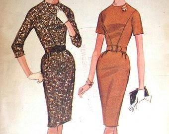 "McCalls Dress Pattern No 6978 Vintage 1960s Size 16 Bust 36"" Sheath Short or 3/4 Sleeve Back Zipper Slim Skirt Kick Pleat"