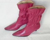Vintage Fuchsia Leather Boots