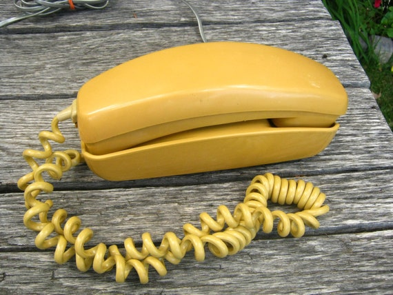 Vintage Butterscotch Yellow Rotary Dial Telephone - Yellow Rotary Dial Telephone