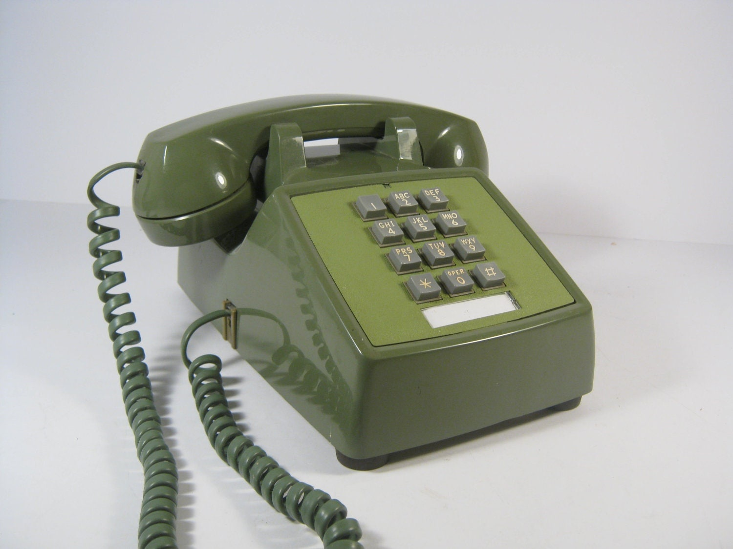 vintage avocado green push button telephone 1970 39 s push. Black Bedroom Furniture Sets. Home Design Ideas