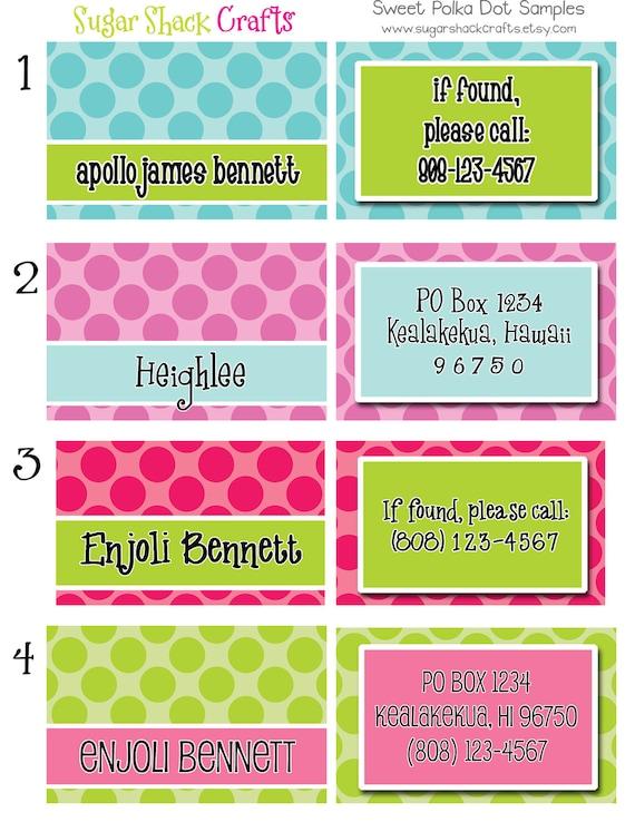 LAMINATED Sweet Polka Dot Backpack Tag/Diaper Bag Tag/Luggage Tag