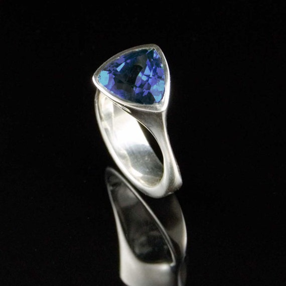 Lab Created Trillion Blue Sapphire Ring in Sterling Silver