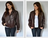 SALE Rage Brown Leather Motorcyle Jacket Size 38
